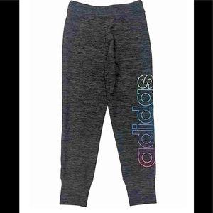 ADIDAS Girls Charcoal Grey Rainbow Glitter Joggers